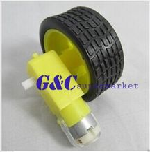 2PCS  smart Car Robot Plaic re Wheel with DC 3-6v Gear Motor diy electronics