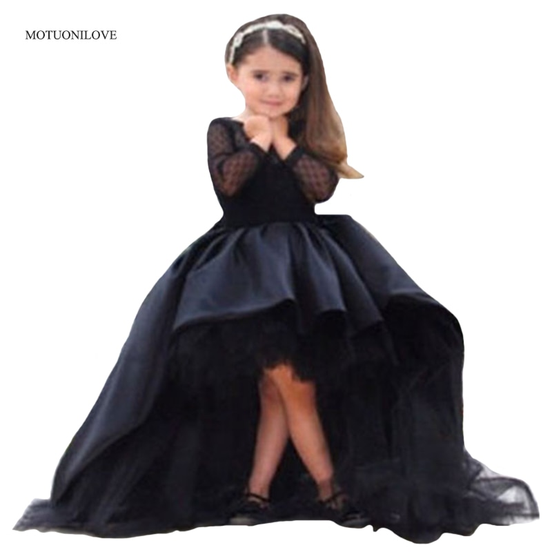 Vestido longo de baile para festa, vestido preto de mangas compridas com gola redonda, princesa concurso, frente curta, duas partes vestidos,