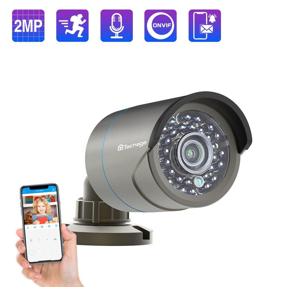 Techage 1080P POE IP Kamera 2MP Audio Sound Rekord Onvif 48V Sicherheit CCTV Überwachung Im Freien IR Cut Nacht vision Kamera P2P