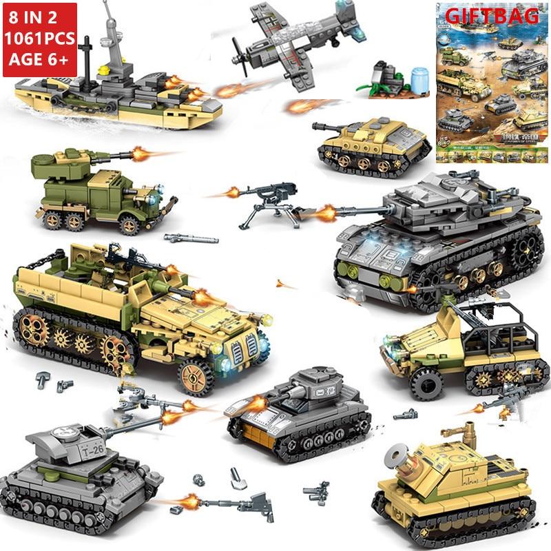 1061 قطعة العسكرية تكنيك الحديد الإمبراطورية تانك اللبنات مجموعات سلاح الحرب عربة الخالق الجيش WW2 الجنود لتقوم بها بنفسك الطوب الاطفال اللعب