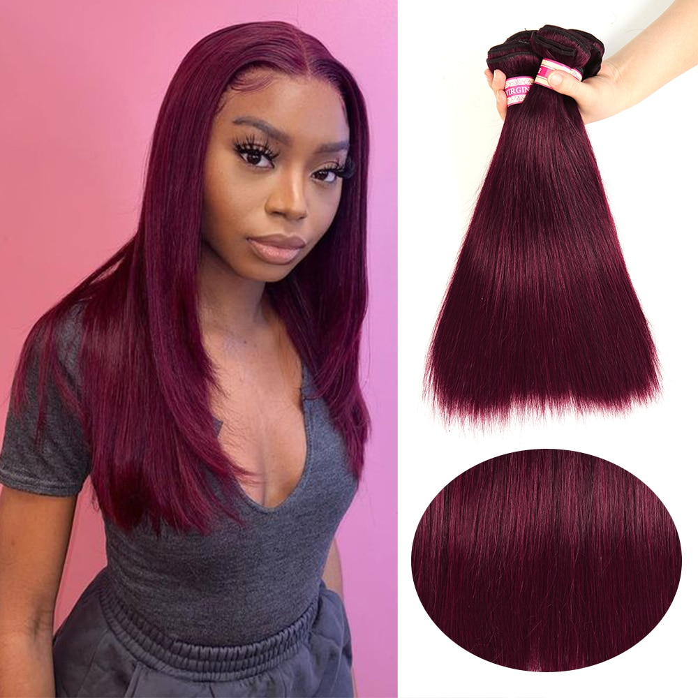 99j# Red Straight Human Hair Weaves Bundles Brazilian Human Hair Extension #99J Color Luxe Diva Remy Bulk Luxe Diva