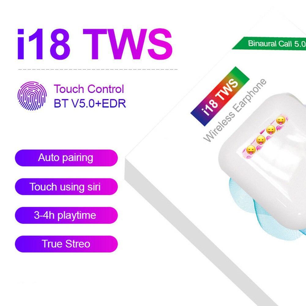 I18 TWS auriculares inalámbricos estéreo 3D Bluetooth 5,0 auriculares con Control táctil para iPhone Xiaomi Huawei Samsung auriculares