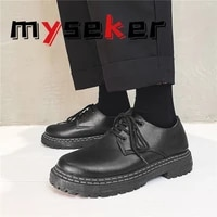 2021 new loafers ladies ankle boots non slip wear resistant thick soled black leather shoes leather spring and autumn cartoon