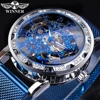 winner fashion diamond display mens business clock blue steel mechanical classic royal gear movement mechanical skeleton watch