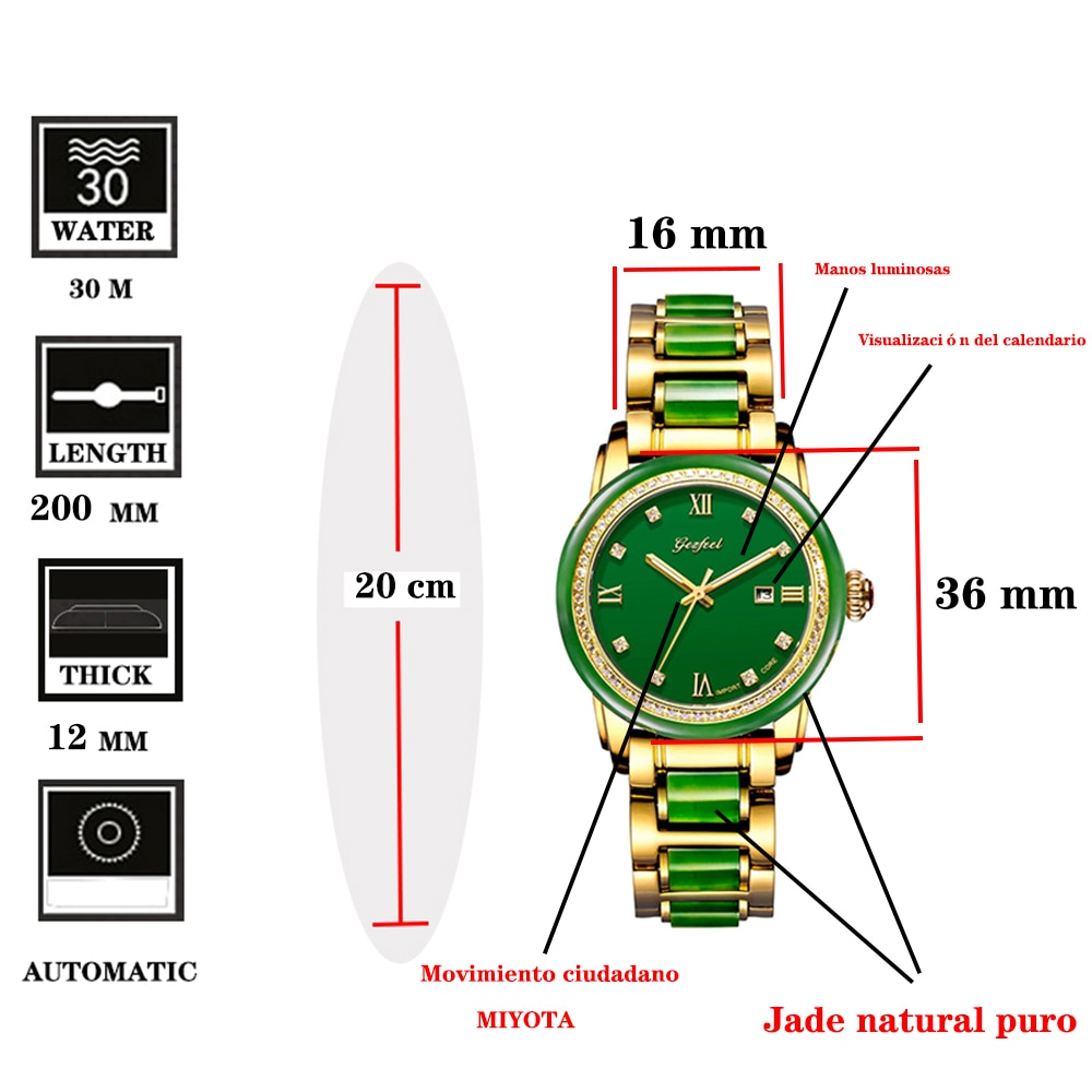 GEZFEEL Waterproof Mechanical Watch Women's Jade Watches Automatic Wristwatch Jasper Color Dial with Calendar Display Function enlarge