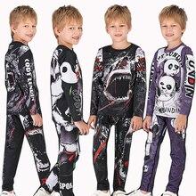 MMA Rashguard bjj enfant MMA Compression T-shirt + pantalon Jiu Jusit Kickboxing collants ensemble de pantalons enfants éruption garde boxe vêtements