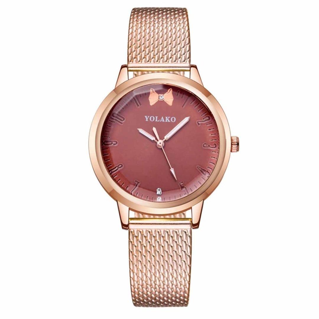 Cute Bow Knot Pattern Rhinestone Round Quartz Watch Vintage Stainless Steel Mesh Band Women Party Dress Wrist Watches Clock