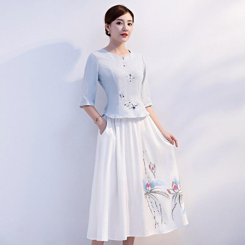 قميص هان مُطرز ، أكمام متوسطة ، ملابس محلية ، زي هانفو