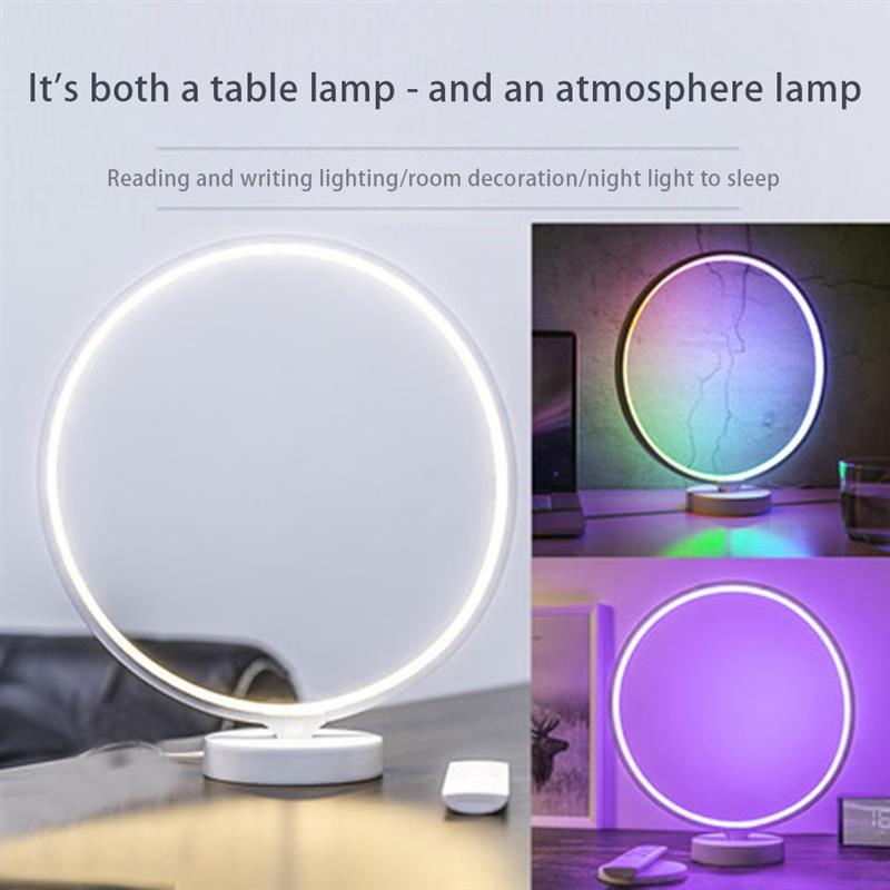 Circle LED Bedside Lamp Dimmable Nightstand Light 4 Level Brightness Adjust Modern Colorful Mood Light Atmosphere Lamp enlarge