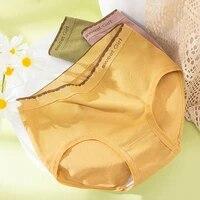 roseheart new women fashion yellow cotton mid waist panties underwear lingerie briefs underpants f seamless plus size
