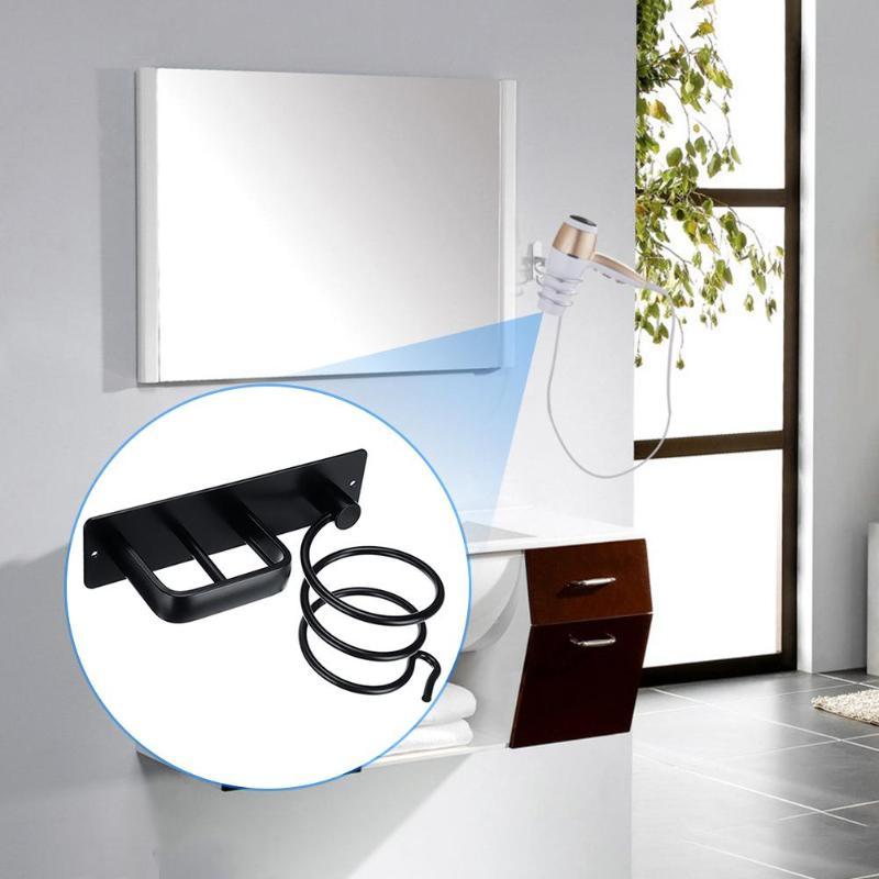 Wall Mounted Hair Dryer Storage Rack Holder Bathroom Organizer Aluminum Alloy Hair Blower Rack Shelf