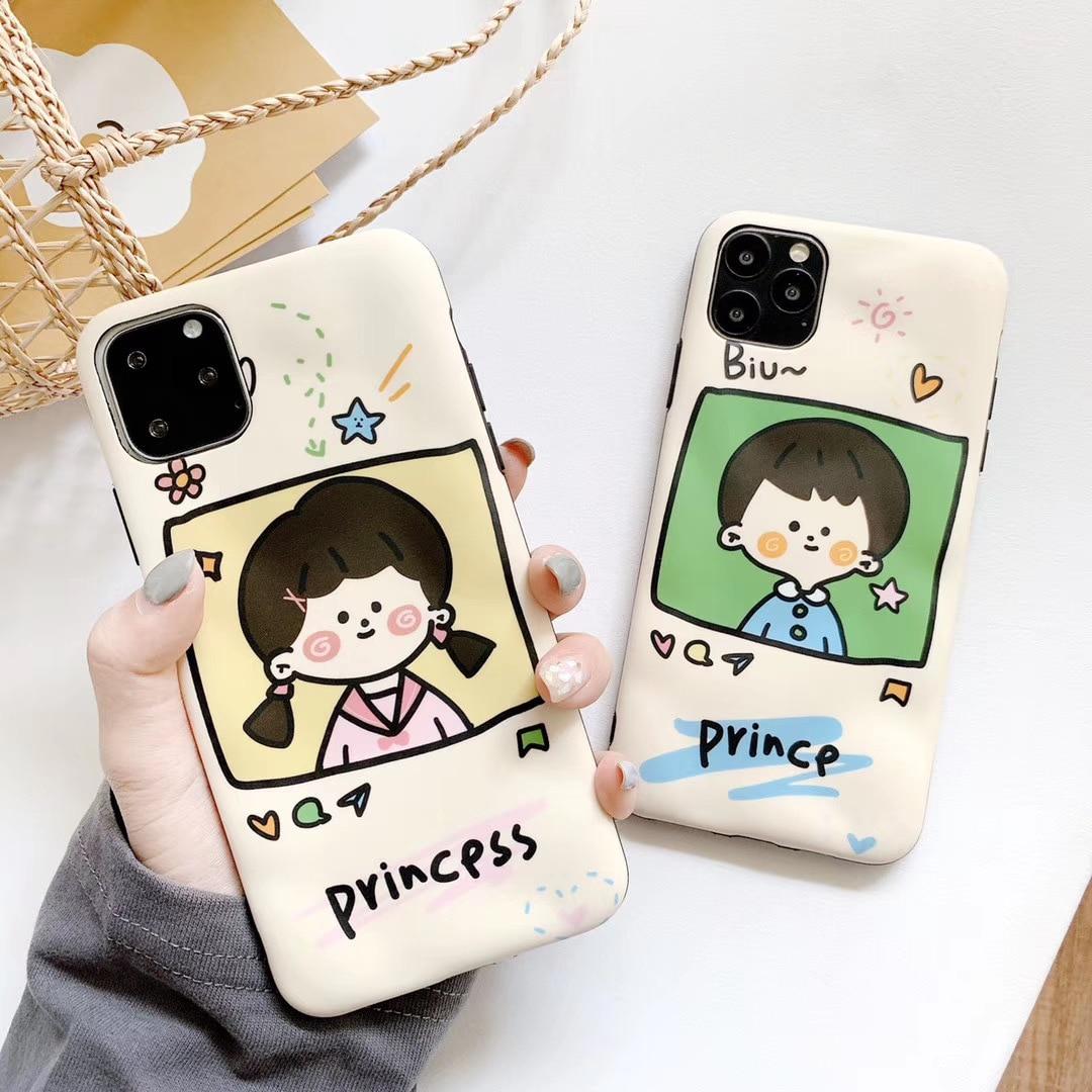 Ins Boy Girl, funda de teléfono para iPhone 11 Pro Max XS Max XR, bonita funda trasera suave de princesa & Prince X 8 para iPhone 7 Plus, funda de amante