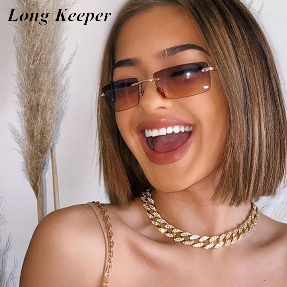 Longkeeper sem aro óculos de sol feminino design da marca de luxo retângulo vintage óculos de sol senhoras retro 90s máscaras uv400