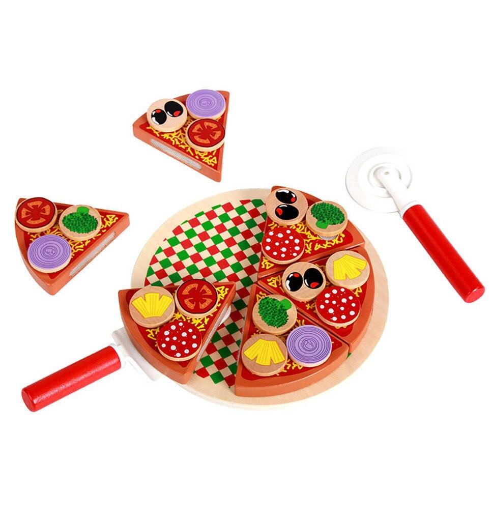 27 Uds Pizza juguetes de madera juguetes de cocina simulación niños vajilla de cocina juguete para juego de imitación vegetal de la fruta con la vajilla