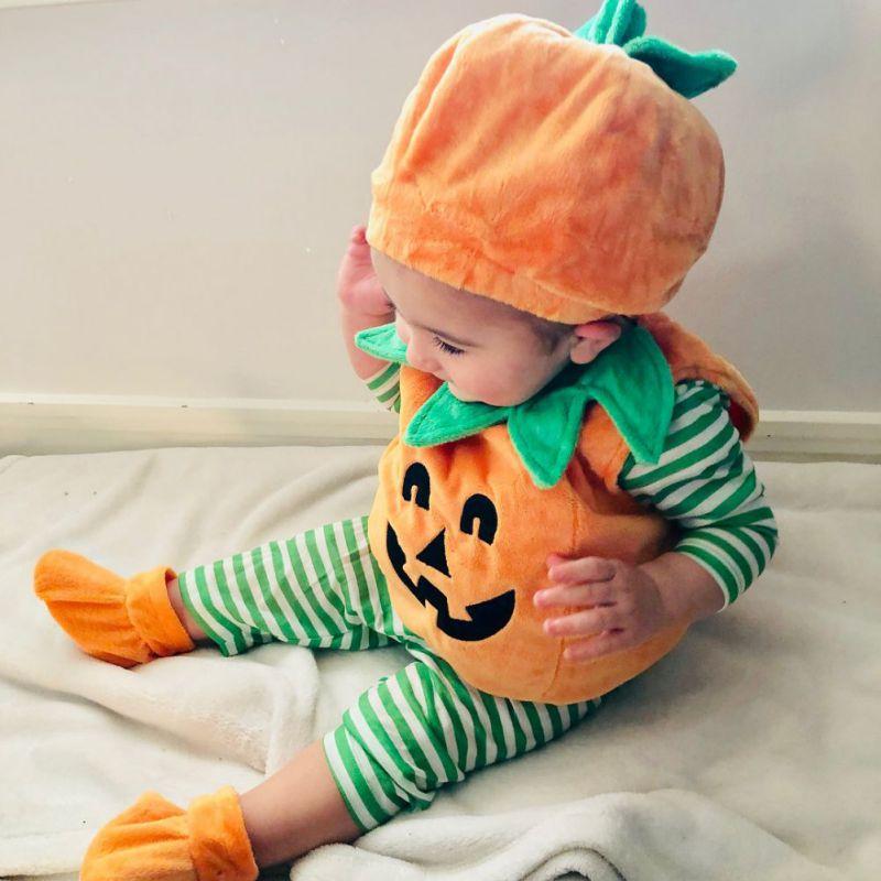 0-3Y bebé Halloween ropa Cosplay niño calabaza estampado sin mangas mono Tops + sombreros + zapatos 3 piezas disfraces