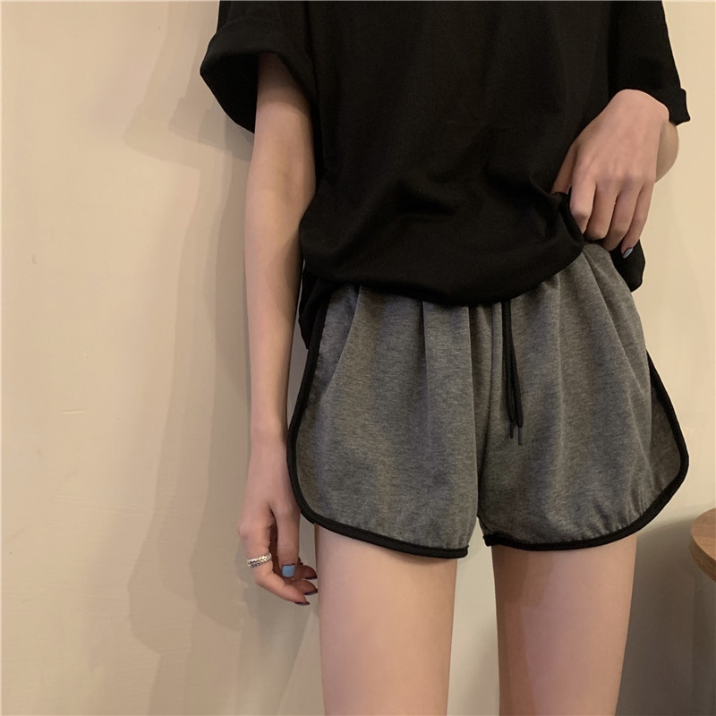 Gray Sports Pants for Women 2021 New Summer Elastic High Waist Black Shorts Versatile Casual Straigh