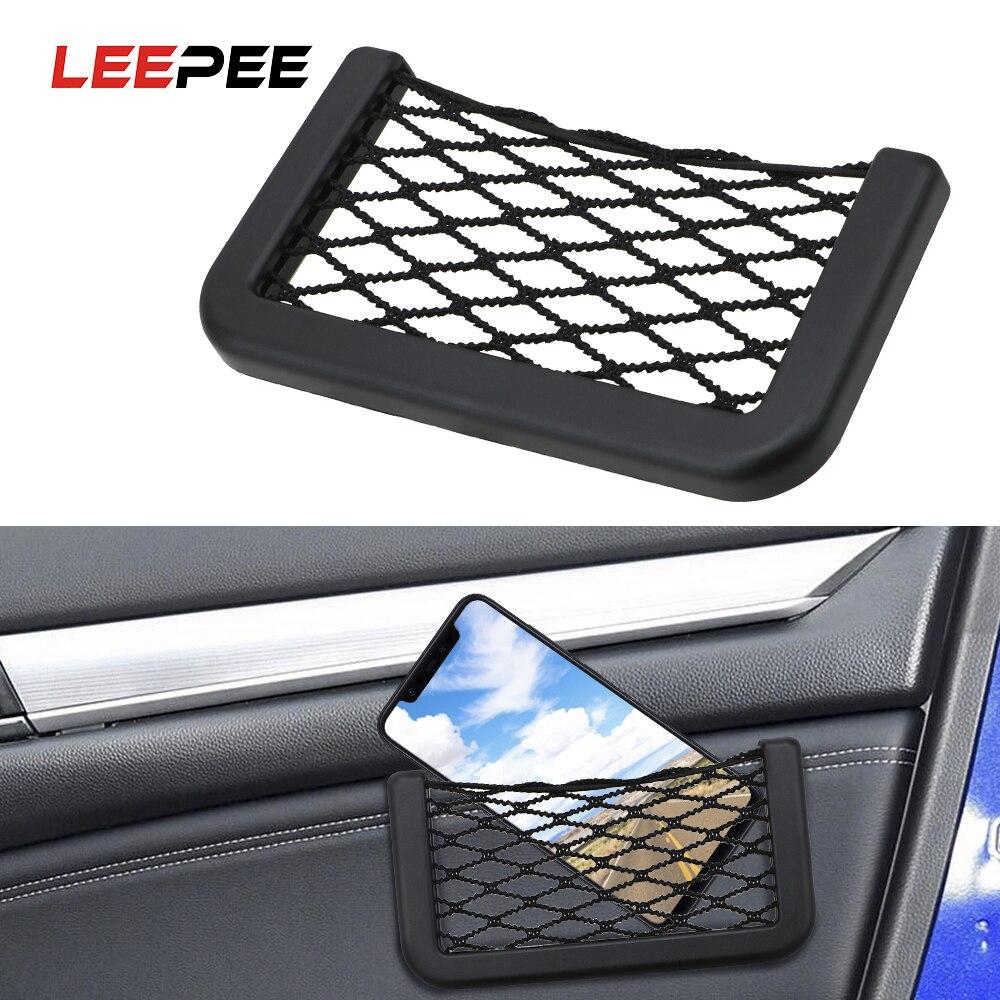 LEEPEE 15X8cm רכב נקי תיק רכב ארגונית רשתות רכב כיסים דבק Visor רכב Syling תיק אחסון עבור כלים טלפון נייד