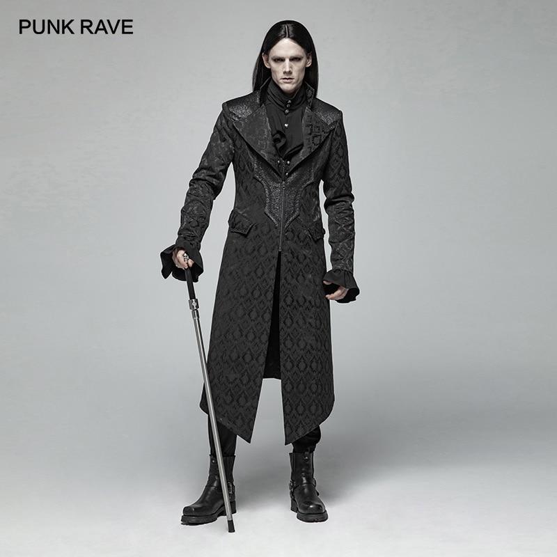 فاسق الهذيان الرجال القوطية الجاكار منتصف أرجل معطف Steampunk الموضة الرجعية هالوين نادي حفلات معطف مرحلة أداء طويل خندق معطف