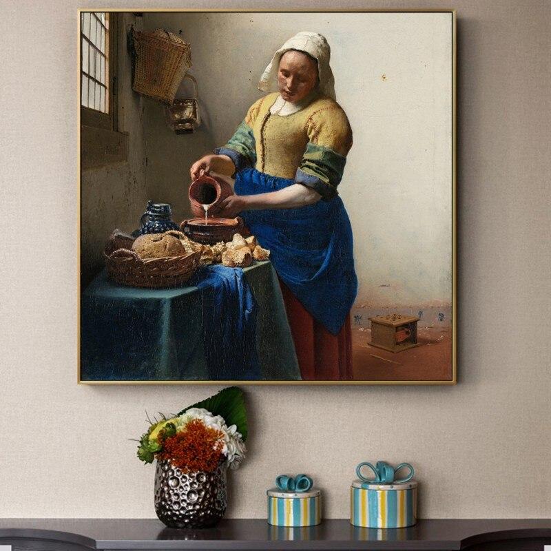 Póster e impresiones del artista holandés Johnes The Milkmaid, arte de pared famoso, lienzo para decoración de Cuadros de sala de estar