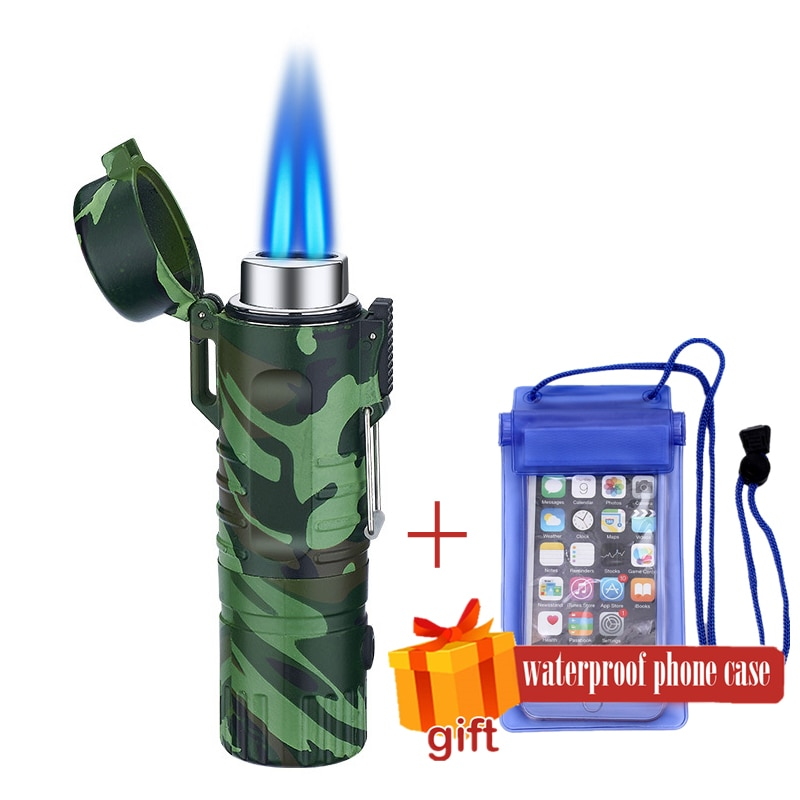 Windpoof Waterproof 2 or  1 jets Gas Lighter For Outdoor Camping Sports Butane refuelable Cigarette Lighters For Smoking GL034X