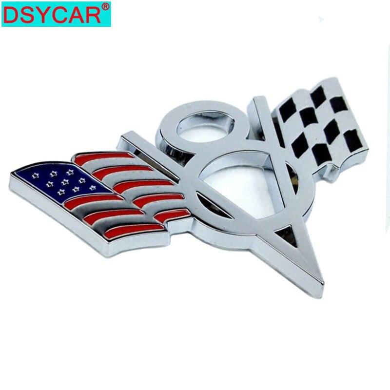 Dsycar 3d metal v8 eua bandeira do carro de moto adesivo logotipo emblema emblema estilo do carro para fiat bmw ford lada audi opel skoda toyota lifan vw