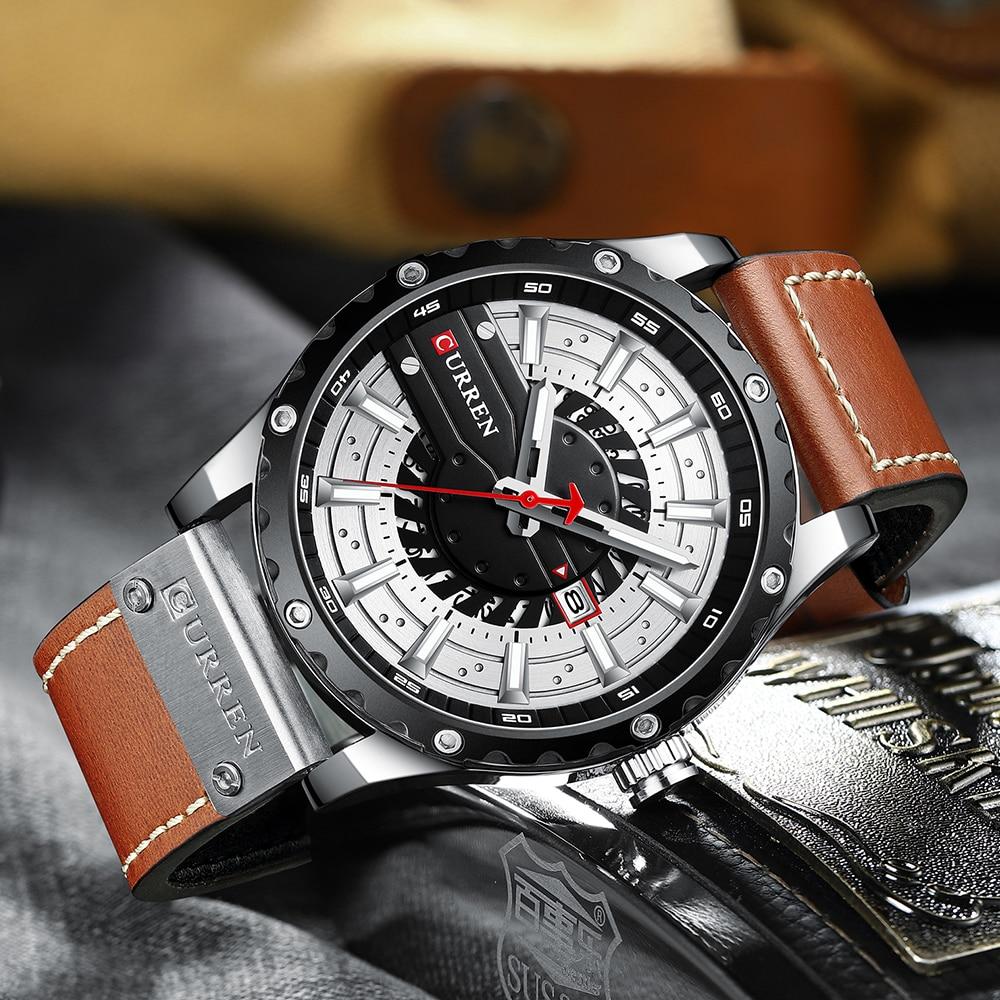 CURREN Fashion Casual Sport Watches for Men Black Top Brand Luxury Military Leather Wrist Watch Man Clock Fashion Men Wristwatch