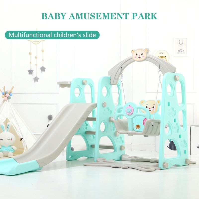 Children's Slide Indoor Multi-functional Slide Basket Swing Combination Small Amusement Park Baby Music Learning Machine Toys