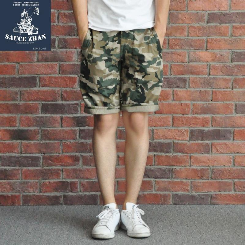 Pantalones cortos de camuflaje de SauceZhan, pantalones cortos informales para hombre, pantalones de camuflaje del ejército HBT, pantalones de camuflaje