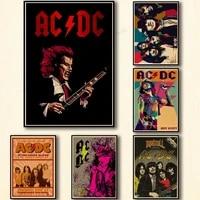 WTQ     affiches de dessin anime AC DC  toile de peinture  decor mural  affiche retro  image dart mural pour decoration de salon  decoration de maison