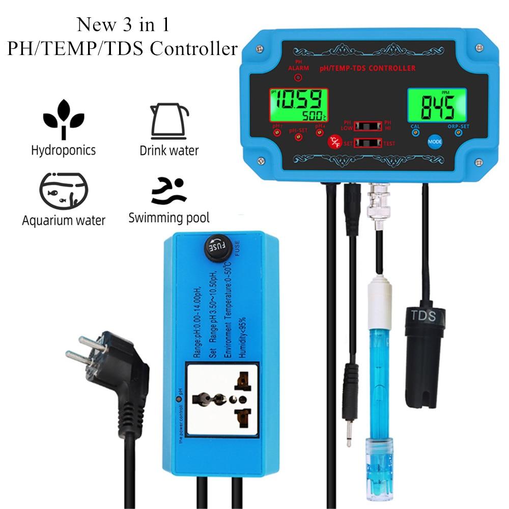 جهاز مراقبة جودة المياه 3 في 1 ، جديد ، 3 في 1 PH/TEMP/TDS ، جهاز مراقبة درجة الحموضة مع قطب كهربائي من نوع BNC ، لحوض السمك ، خصم 40%