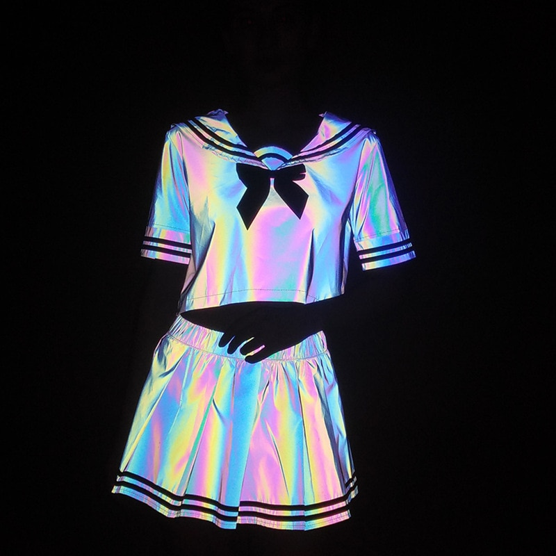 Colorful Reflective Sailor Suit Feminine Cute Uniform Set Japanese T-shirt Pleated Skirt Laser Set