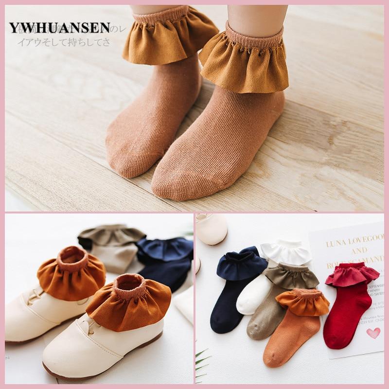 Ywhuansen 1 par 2 a 8 anos grande flanela rendas meias para meninas princesa meias de algodão bela meia criança branco vermelho azul profundo