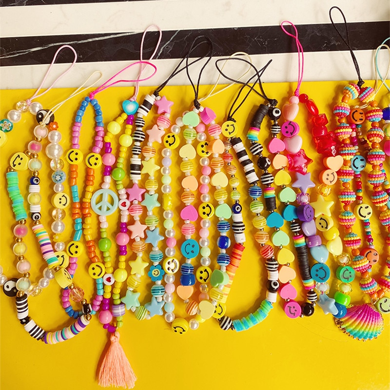 INS New Colorful Acrylic Handmade Beaded Phone Chain Candy Color Soft Pottery Heart Imitation Pearl Mobile Phone Strap Jewelry