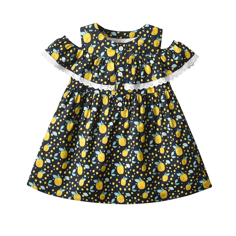 Yg Brand Children's Wear, 2021 Summer New Short Sleeve Children's Princess Skirt, Lovely Yellow Peac