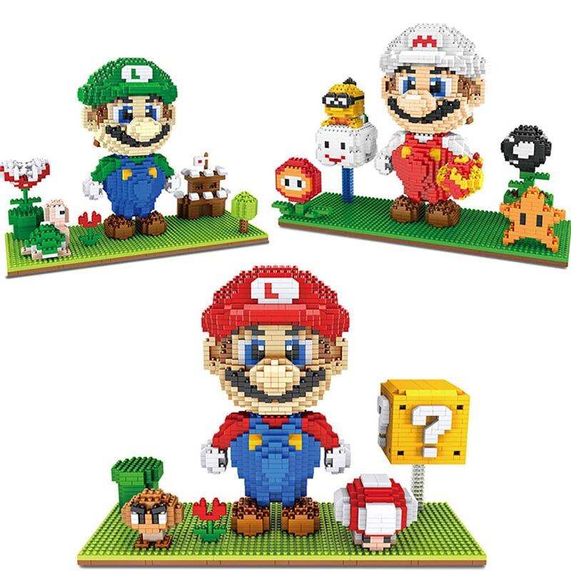 Mini Super Mario bros  Luigi  Yoshi Block Diy Game Character cartoon Diamond Brick  Building Toy For Children no box