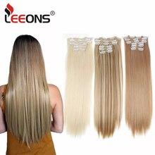 Leeons 16 farben 16 clips Lange Gerade Synthetische Haar Extensions Clips in Hohe Temperatur Faser Schwarz Braun Haarteil