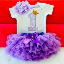 Robes pour enfants filles   Tenue Tutu, pour baptême de 1 an, pour enfants de 1er anniversaire, 2020