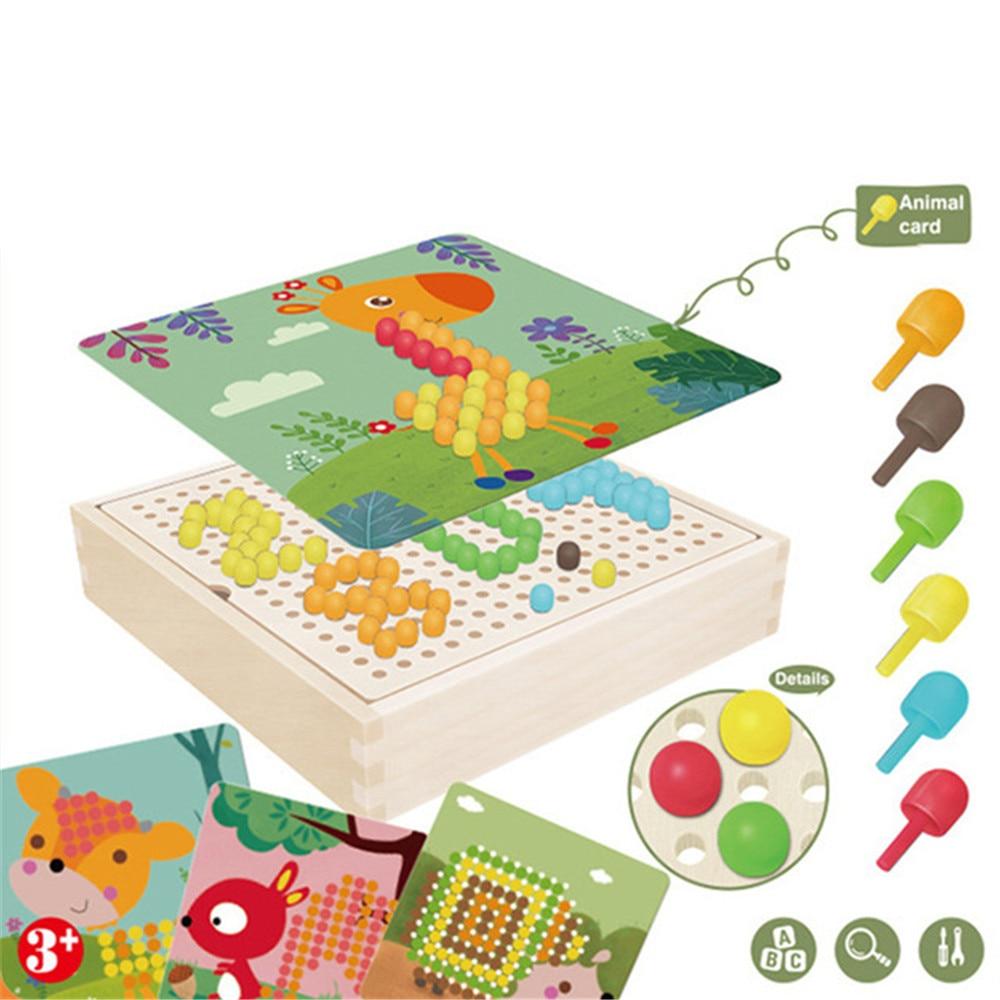 240 Pcs 3D Puzzle Kids Toys Mushroom Nail Intelligent With Wood Storage Box Mosaic Peg Board Jigsaw Puzzle Kids DIY Educational
