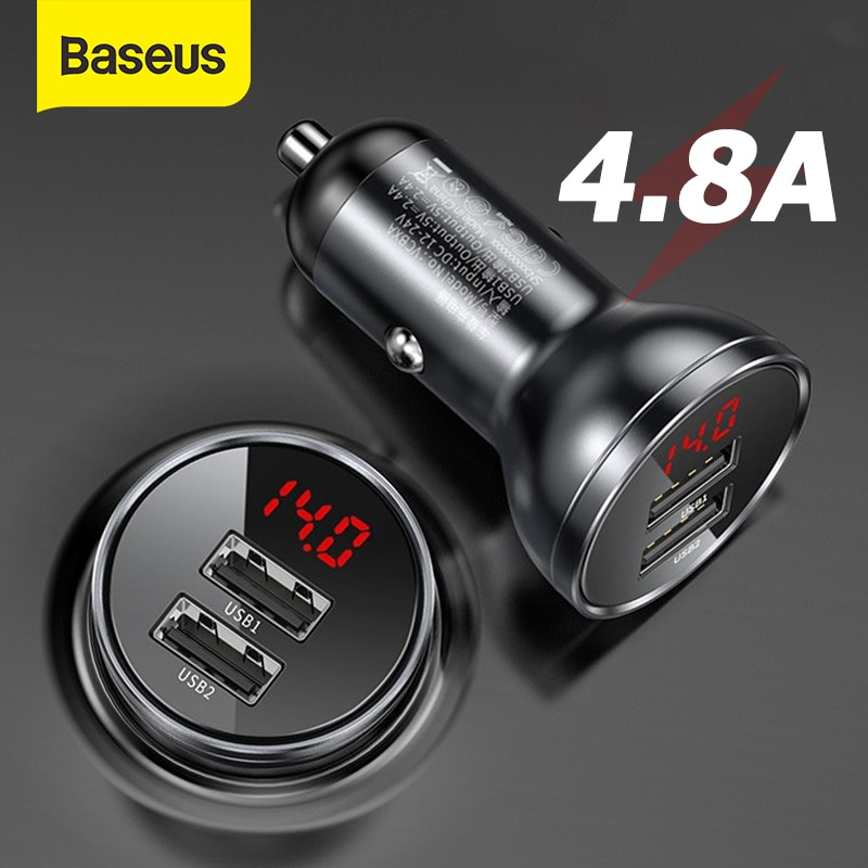 Baseus Alloy Dual Cigarette Lighter USB Car Charger 4.8A 24W Fast Charge For Xiaomi Samsung Phone Ca