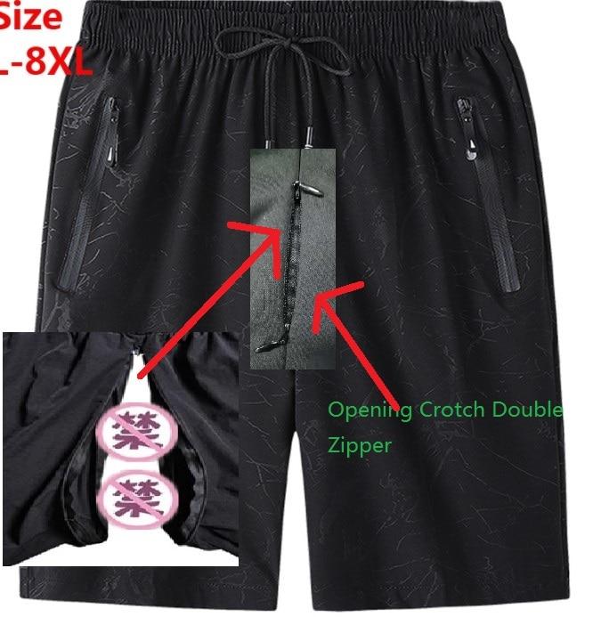 AliExpress - 2021 spring and summer men's fun open-top zipper casual shorts big size running fitness plus fattening increased sweatpants men