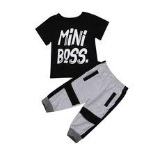 2019 Brand New 2 sztuk maluch niemowlę dziecko dzieci Baby Boy T-shirt topy spodnie Harem stroje zestawy moda ubrania 1 -6T