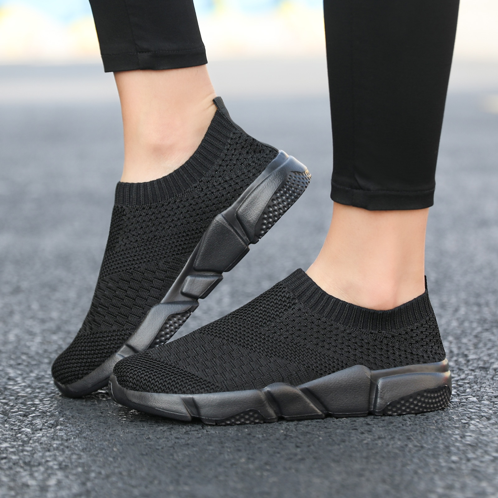 Women Flat Slip on Shoes Woman Light Walking Sock Sneakers Summer Casual Chaussures Femme Tenis Loafers Zapatos De Mujer Zapatos