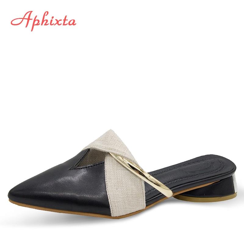 Aphixta Women Mules 2019 Pointed Toe Slippers Shoes Square Heel Women Slippers Slides Beach Flip Flop Slip On Slipper Woman