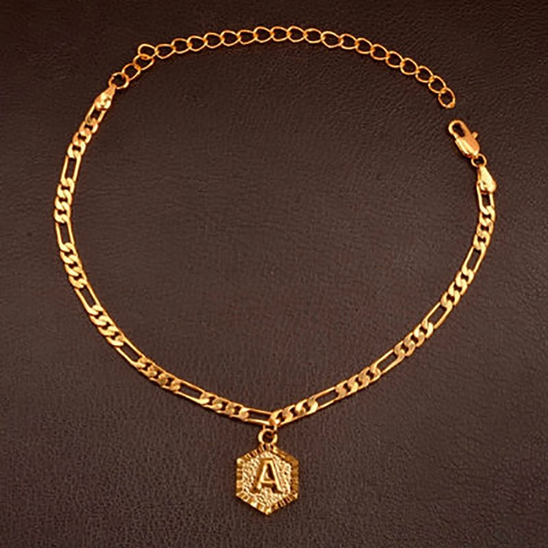 Nueva moda 26 inglés tobillera con letras A-Z primera carta Clavicular pulseras joyas regalo mejor amigo pie cadena ajustable