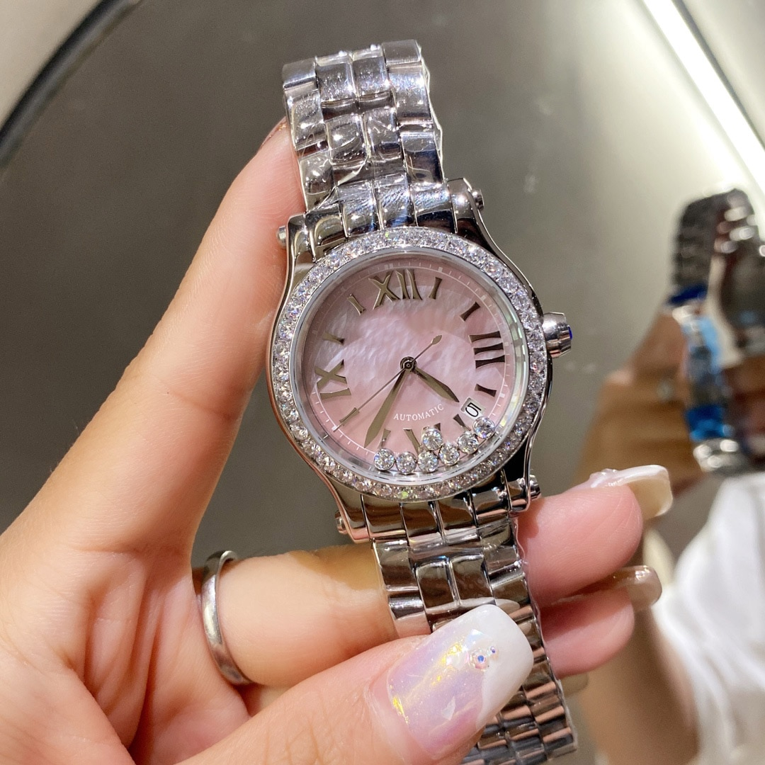 Hot selling famous European and American brands luxury ladies watches happy stone casual fashion quartz movement ladies watches enlarge