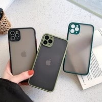 camera protection bumper phone cases for iphone 11 12 11pro max xr xs max x 8 7 6s plus matte translucent shockproof back cover