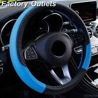 Car Steering Wheel Covers 37-38cm Universal PU Leather Steering-wheel Cover Automobiles Anti-slip Four Seasons Auto Accessories