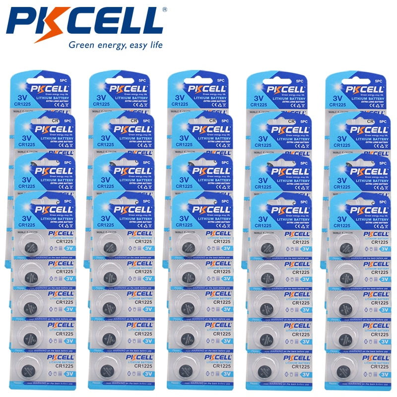 Pilas de litio CR1225 3V, 100 Uds., DL1225, EBR1225, ECR1225, B1225, pila de botón para juguetes, llave de control remoto para coches y vehículos