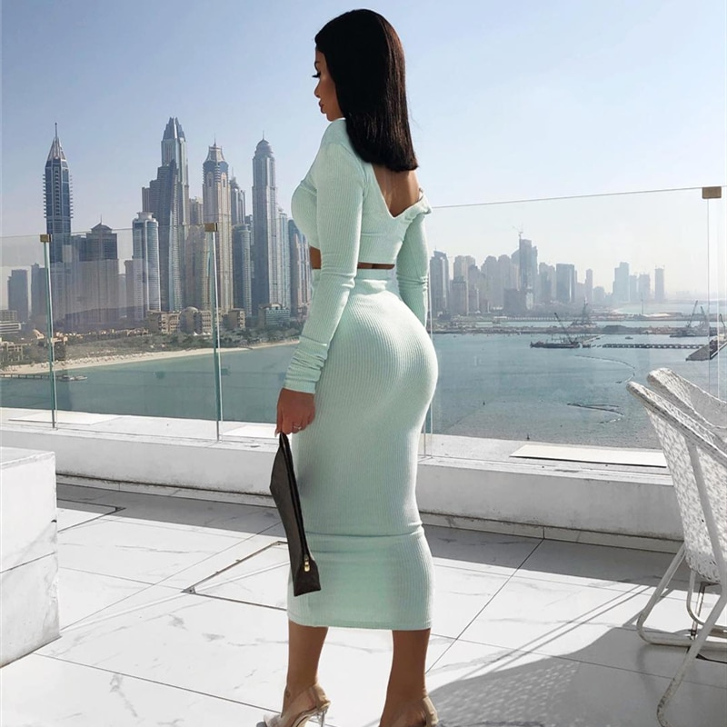 Colysmo 2 Piece Set Women Outfits White Long Sleeve Two Piece Set Ribbed Crop Top And Skirt Set Party Club Wear Matching Sets simenual knitted ribbed bandage patchwork two piece sets women long sleeve v neck club tie front outfits crop top and pants set
