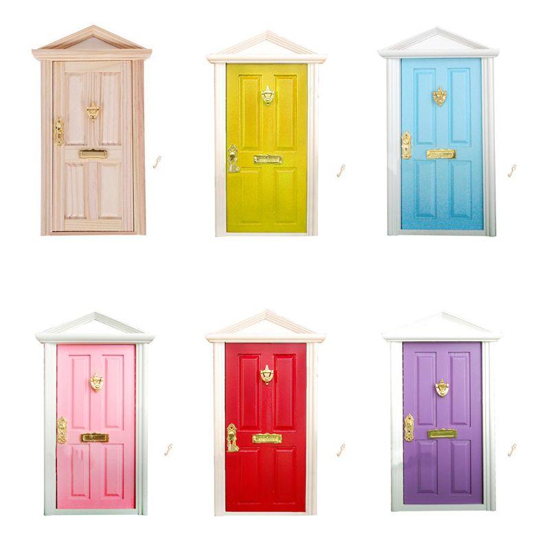 112 Scale Dollhouse Miniature Wood Fairy Door Knocker Doorplate Lock Key Decor DXAD